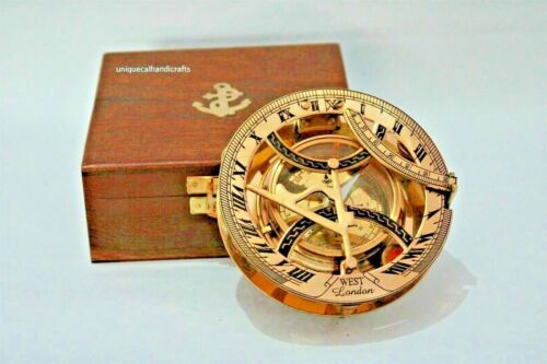 Nautical brass 5 inch approx. sundial compass polish finish with wooden box
