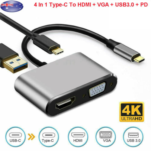 4 In 1 USB C Type-C To HDMI 4K VGA USB3.0 PD Video Adapter for MacBook/Phone