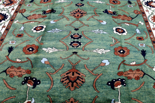 8X12 BREATHTAKING NEW HAND KNOTTED VEGETABLE DYED WOOL GREEN TABRIZZ TURKISH RUG
