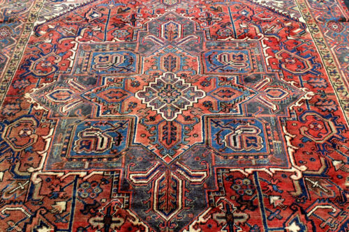 8X11 1930's MUSEUM MASTERPIECE ANTIQUE HAND KNOTTED HERIZZ GEOMETRIC WOOL RUG