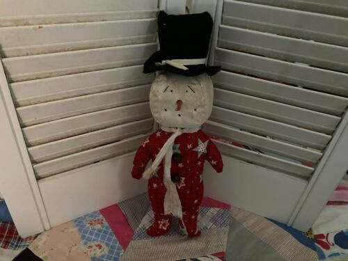 Primitive Snowman Doll - 12 inch - dried carrot nose - Winter/Christmas-y