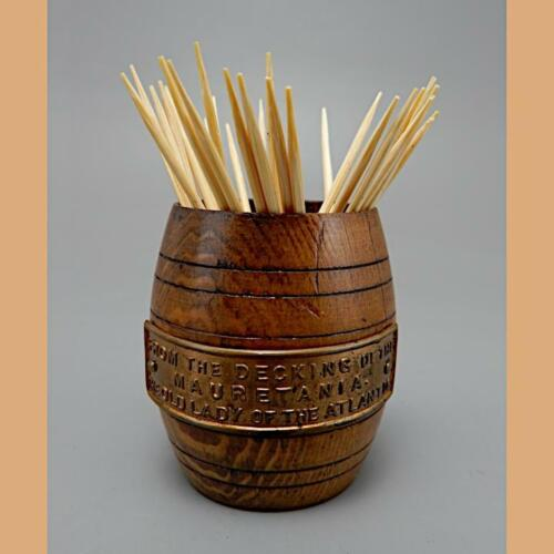 A TEAK TOOTHPICK BARREL MADE FROM THE DECKING OF THE MAURETANIA 1930's