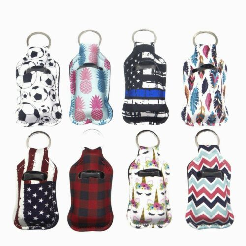 Neoprene Sanitizer Holder Keychain 8pcs With Empty Travel Size Bottles To Fill