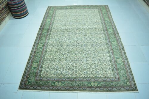 Hand Knotted Wool Rug 5x7,Decorative Carpet,Faded Oushak Rug,Green Turkish Rug,