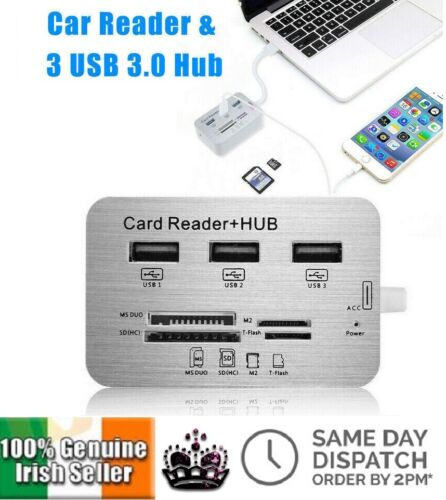 3 Port Aluminum USB 3.0 Hub MS SD M2 TF Multi-In-1 Memory Card Reader Adapter