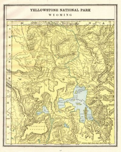 1900 Antique YELLOWSTONE National Park Map Vintage Yellowstone Wyoming Map 8555