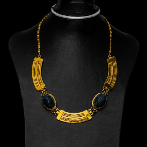 Rare EGYPTIAN ANTIQUES NECKLACE LAPIS LAZULI SCARAB Gold plated Brass BC
