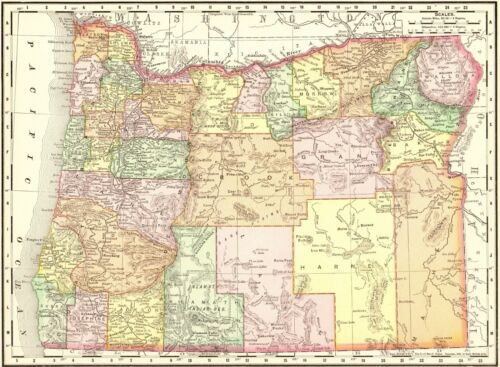 1899 Antique OREGON Map of Oregon Gallery Wall Art Oregon State Map 8573