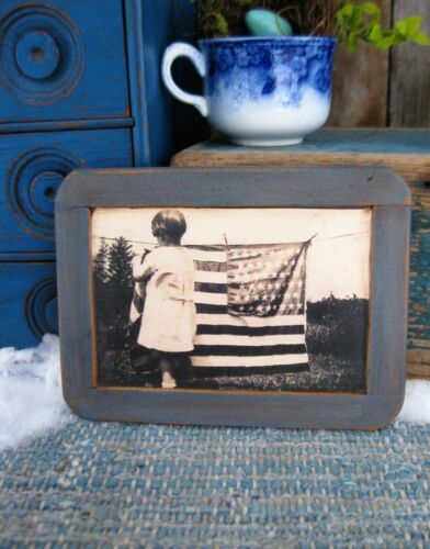 Antique School Slate Chalk Board Old Photo Print Hanging the Flag Free Shipping