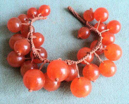 """Antique GRADUATED CARNELIAN BRACELET on Knotted Silk CORD 6.75"""" Long 18mm - 12mm"""