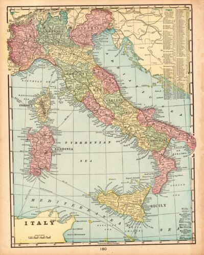 1901 Antique MAP of ITALY Original George Cram Atlas Italy Map Wall Art 8606