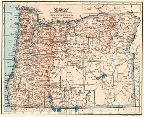 1921 Antique OREGON State Map Vintage Map of Oregon Gallery Wall Art 8618