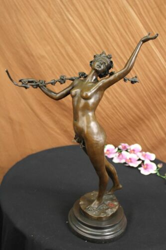 NUDE ROMAN GODDESS WITH ROSE FLOWER BRONZE SCULPTURE ON MARBLE BASE FIGURINE ART
