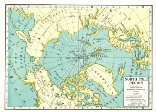 1941 Vintage North and South Pole Region Map Arctic Antarctic Map  8622