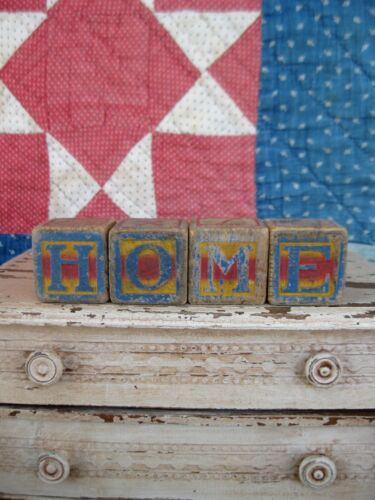 Early Antique Wood Toy Blocks Spell HOME