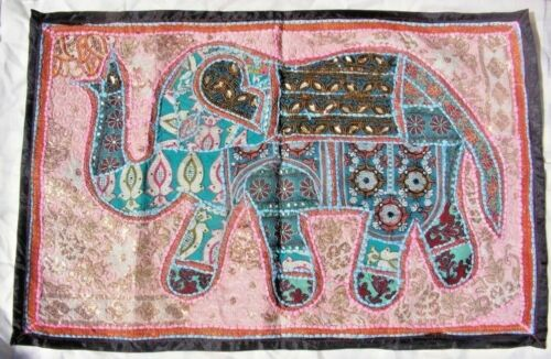Handmade Wall Hanging Tapestry Patchwork Elephant Vintage Ethnic Home Decor.