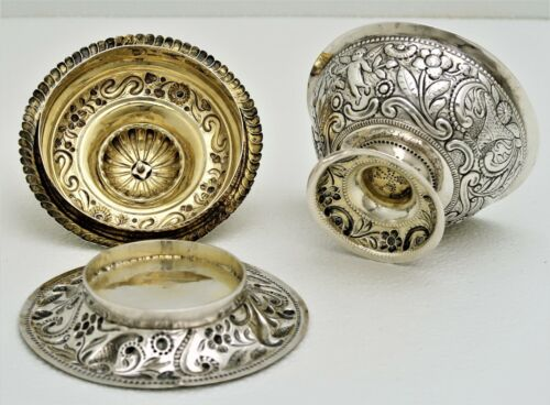 3 pc Dutch Hand Hammered Silver Lidded Bowl Tureen Chased Cherub Floral Motif