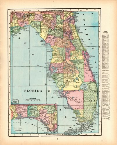 1903 Antique FLORIDA Map George Cram State Map of Florida Gallery Wall Art 8649
