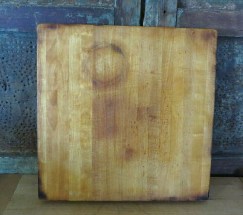 Primitive Wooden Butcher Block Maple Wood Cutting Board Nice Patina & Coloring