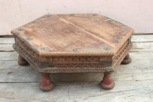 Old Vintage Handcrafted Wooden Bajot Table Rustic Home Decor Serving Table BN-72