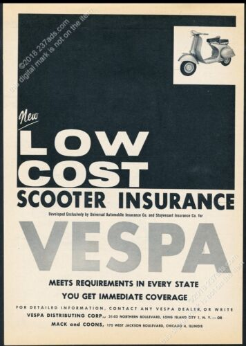 1960 Vespa scooter moped photo vintage print ad