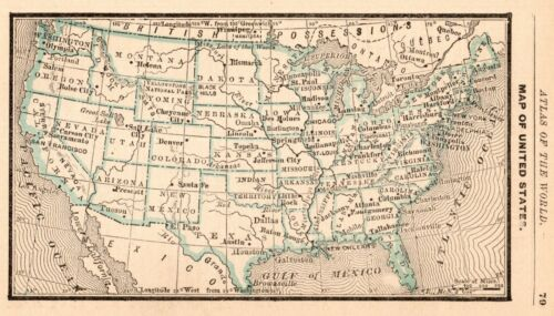 1888 Antique UNITED STATES Map RARE MINIATURE Size Collectible USA Map 8783