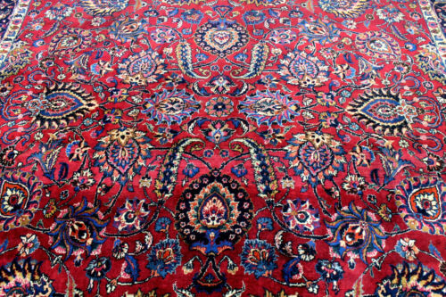 9X13 1940's SIGNED ANTIQUE HAND KNOTTED VEGETABLE DYE WOOL MASHADD ORIENTAL RUG