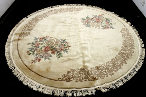 9X9 EXQUISITE NEW HAND KNOTTED PLUSH WOOL CARVED NICHOLE WOOL CHINESE ROUND RUG