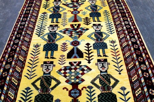 9X6 ELEGANT NEW HAND KNOTTED VEGETABLE DYE TRIBAL PICTORIALSHEERAZZ ORIENTAL RUG