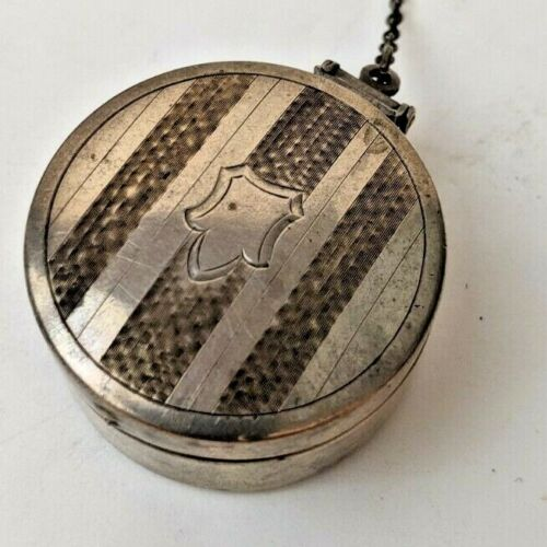 Art Deco Sterling Silver Chatelaine Compact Pill Box with Mirror