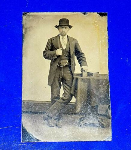 """Antique Tintype Photograph of Smartly Dressed Man - 2"""" x 3 1/4"""""""
