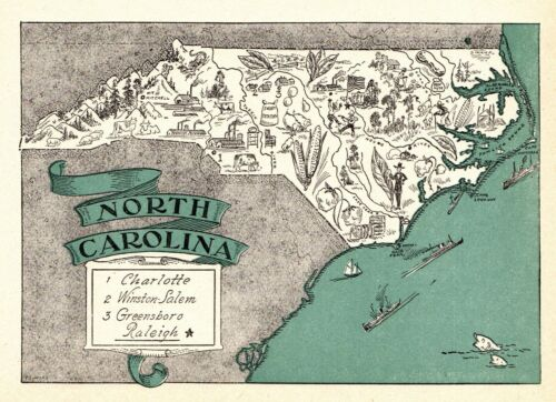 1930s Antique NORTH CAROLINA State Map RARE Animated Picture Map BLU 6910