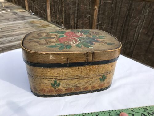 Antique Painted Brides Box Pantry Paint Decorated Wood Oval Oblong