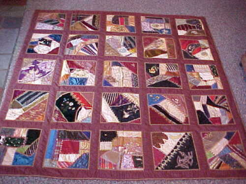 1920s Era HAND SEWN CRAZY QUILT 58 x 58 w Colorful SILK PANELS