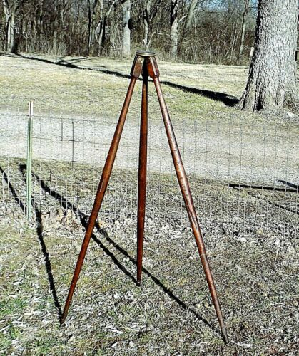 "Antique Wood and Brass Surveyors Tripod - 55"" Steel Tipped Legs"