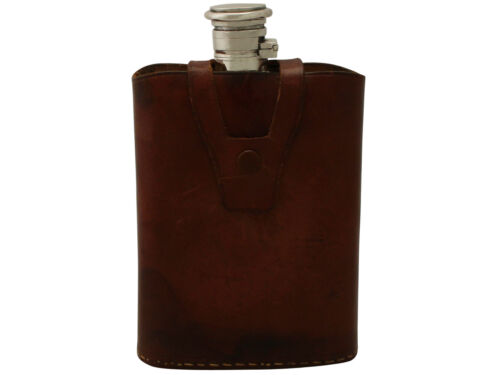 Antique Asian Silver Hip Flask with Leather Case, Circa 1910