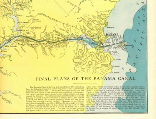 1907 Antique PANAMA CANAL Map Final Plans of The Panama Canal 8896