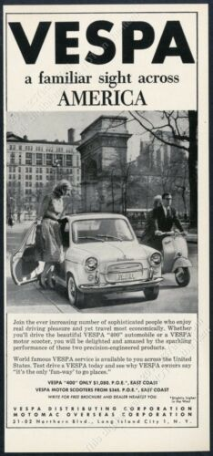 1960 Vespa scooter moped 400 car photo vintage print ad