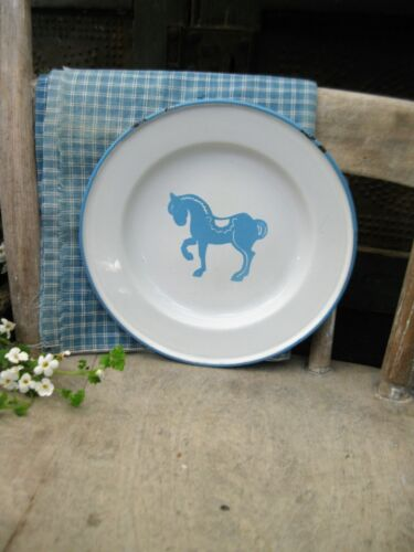 Antique Blue and White Enamelware Child's Plate w Horse Sweden