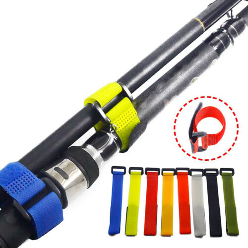1Pc Fishing Accessories Reusable Fishing Rod Tie Holder Strap Loop Cord BZZIT