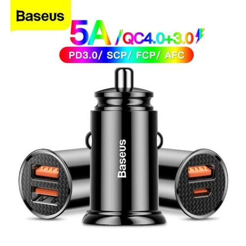 Baseus USB Car Charger Quick Charge 4.0 3.0 QC4.0 QC3.0 QC SCP 5A Type C 30W Fas