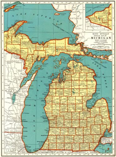 1939 Antique MICHIGAN State Map Gallery Wall Art Vintage Map of Michigan 8905
