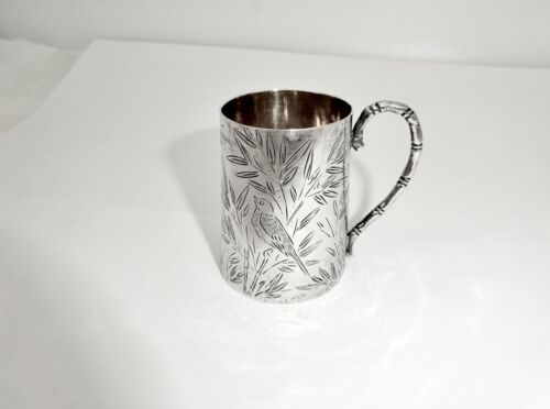 ANTIQUE LUEN WO CHINESE EXPORT STERLING SILVER MINI CUP MUG W/BAMBOO & BIRDS