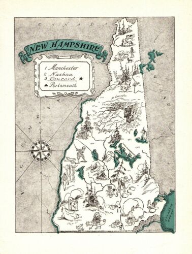 1930s Antique NEW HAMPSHIRE Picture Map RARE Animated Cartoon Map BLU 2445