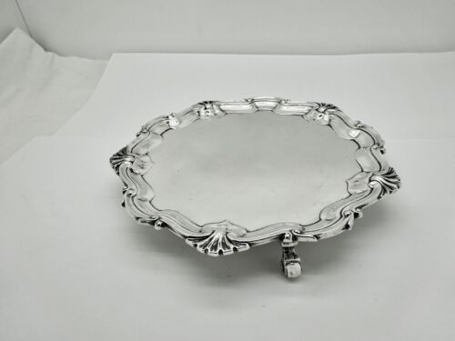 """ANTIQUE JOHN & DAN WELBY LONDON STERLING SILVER FOOTED PASTRY/TART SALVER,6 3/8"""""""