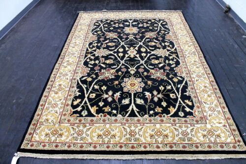 9X6 BREATHTAKING NEW HAND KNOTTED SUPERB BLACK TABRIZZ DESIGN ORIENTAL WOOL RUG