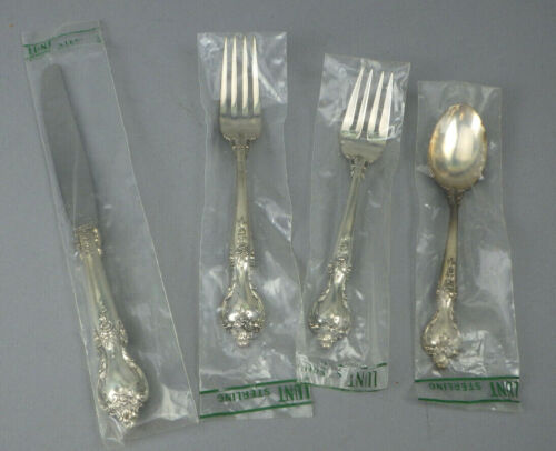 4  Pc Place Setting Lunt DELACOURT Sterling Silver Flaware NIP New Sealed