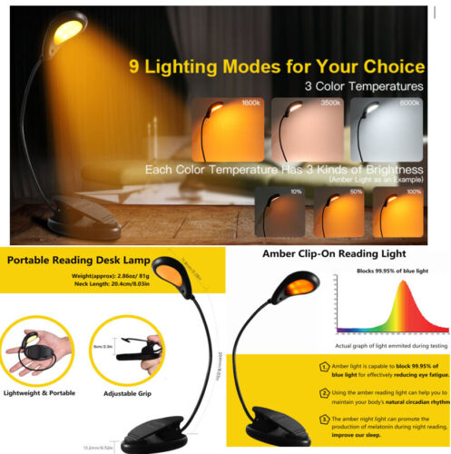 Amber Book Light,Blue Light Blocking Reading Lamp, Clip-On USB Rechargeable Gift