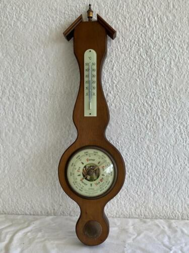 HUGER PRACISIONS BAROMETER THERMOMETER WOODEN SHIP'S WALL HANGING VINTAGE GERMA