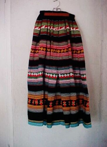 VINTAGE SEMINOLE FULL LONG BLACK 4 BAND MULTI COLOR PATCHWORK RICKRACK  SKIRT-NR <br/> FREE USPS TRACKED  MAIL REQUIRED SIGNATURE CONFIRMATION